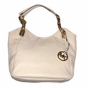 NWT Leather Micheal Kors white Lilly small tote